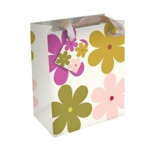 A gift bag with khaki, pink and purple daisies