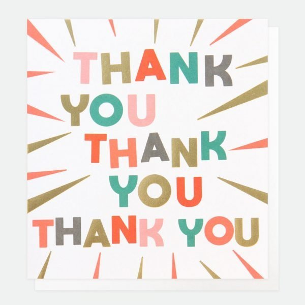 A thank you card with thank you 3 times in really bright letters