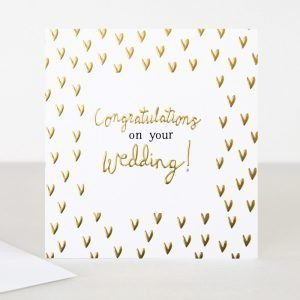 A cream square card with gold foil hearts and the words congratulations on your wedding