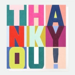 A graphic thank you card in the style of print block letters. Thank You!