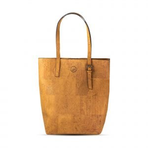 A tan coloured large tote bag with two large straps. The bag is made from cork leather and has an internal zip pocket.