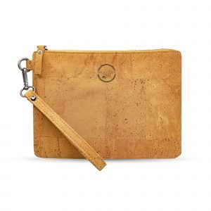 A stunning tan coloured clutch bag that has been made of cork leather. The bag has a detachable hand strap.