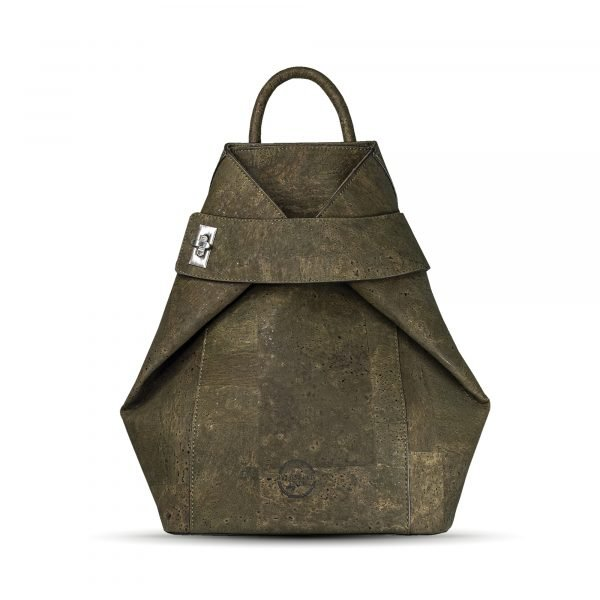 A stunning backpack that has been made using vegan cork leather. The bag is khaki in colour and has a handle on the top and two straps on the back for your shoulders.