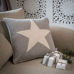 A dove grey and cream reversible cushion with a large star design in contrasting colours on each side.