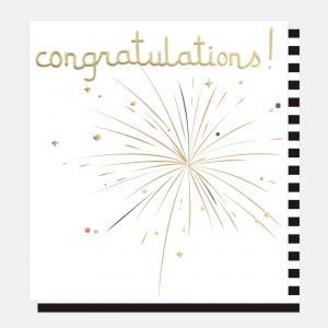 A plain white card with gold foiled firework exploding and congratulations also in gold foil