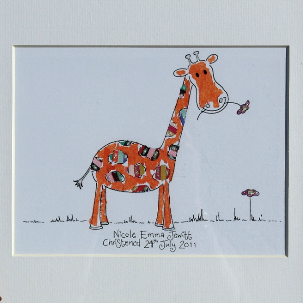 A print of a giraffe from an original piece of artwork. The print can be personalised with your own wording and comes framed in an oak wooden frame.