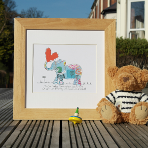 A wonderful print with an image of an elephant with lovely patterned design and a balloon heart. The print can be personalised with your own wording and comes framed in an oak frame.