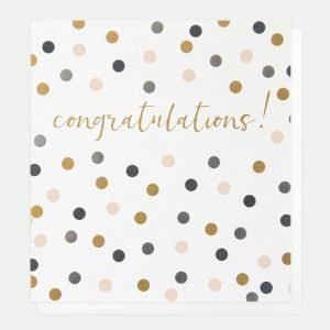 A congratulations card with congratulations! in gold text and spots in grey mauve and grey