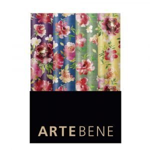 Rolls of floral wrapping paper in a choice of colours purple, green, yellow and blue