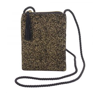 A fantastic velvet black and gold bag with a rope strap on it and a zip fastening with black tassel.