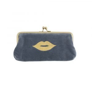 A blue cosmetic purse with gold clip closure and gold lip design.