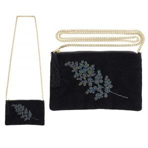 A black velvet bag with detachable gold chain strap with beaded leaf design.