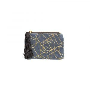 A blue velvet coin purse with gold geometric design. The coin purse had a zip fastening and tassel