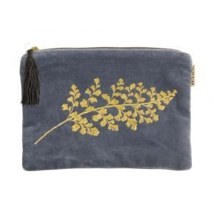 A lovely plush velvet cosmetic pouch with a gold printed leaf design. With a zip fastening and black tassel.