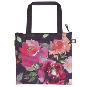 A lovely floral shopper bag that has a dark background and stunning pink flower design. With long black handles and a zip for security.