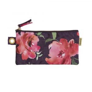 A beautiful floral pouch with a dark background with zip fastening