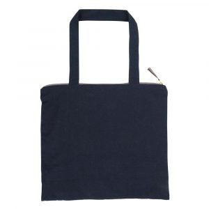 A lovely blue velvet shopping bag with dark blue velvet handle and a gold leaf design across it. The bottom of the bag has a gold strip on it. The bag has a zip fastening with a cute tassel
