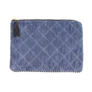 Blue velvet quilted and padded tablet cover with zip fastening and black tassel.