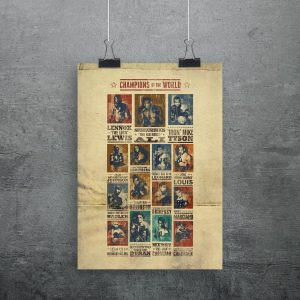 A boxing print featuring some of the world champs including Tyson, Ali, Lennox, Calzaghe