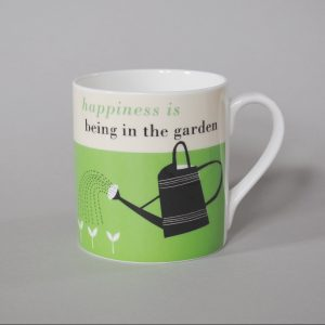 A lovely bone china mug with a green design with an image of a watering can and the words Happiness is being in the Garden printed on it.