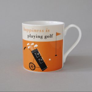 A lovely bone china mug with an orange design and an image of a set of golf clubs. The words Happiness is playing golf are printed on the mug.