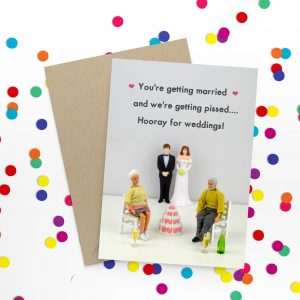 Jeffrey and Janice Hooray For Weddings Card. A fun wedding card with a photo of Barbie and ken dolls. two dressed as the bride and groom and two as guests. You're getting married, and we're getting pissed .... Hooray for weddings!