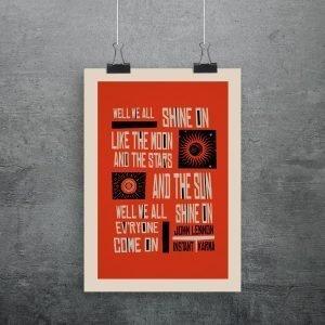 Instant karma print quotes John Lennons chorus lyrics in a typographic style in orange, black and white