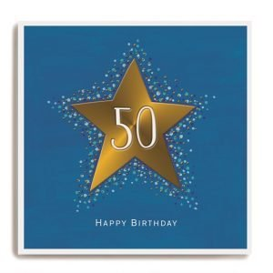A blue card with a big gold star and a 50