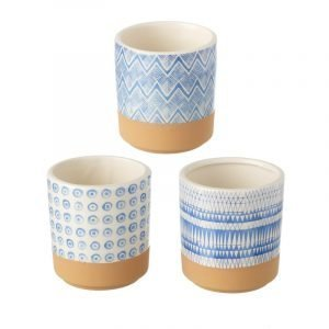 A mix of 3 different blue and white round pots that are 8.5 cm in diameter