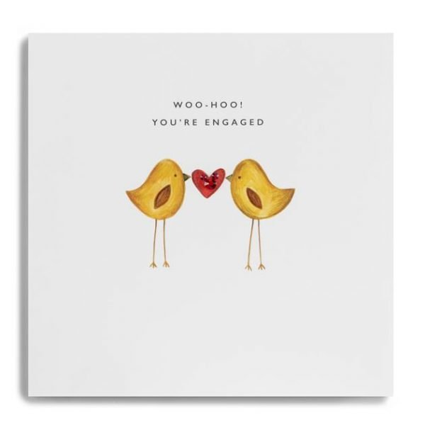 An engagement card with two love birds holding a red love heart and the words Woo Hoo You're Engaged