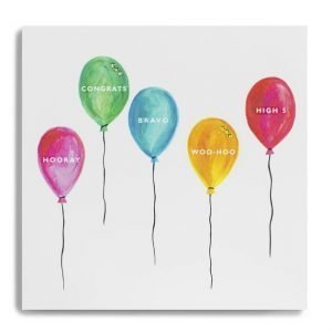A congratulations card with brightly coloured balloons each with a word in. Hooray Congrats Woo Hoo Bravo High 5