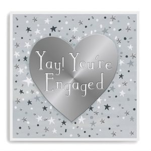 A silver grey card with silver foil highlights and a big silver heart. Yay! You're Engaged