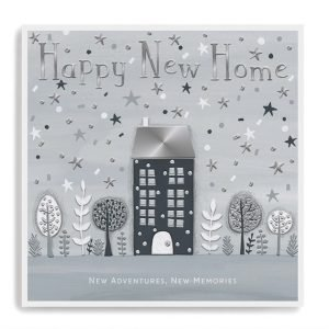 A monochrome silver and grey new home card with a house and trees and lots of little stars embossed into the card. Happy New Home. New Memories New Adventures