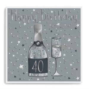 A 40th birthday card with a champagne bottle and glasses