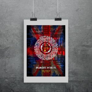 Anarchy in the Uk print by the Sex Pistols. A cool print that includes all the lyrics in a circular vinyl groove style
