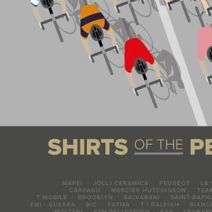 A contemporary cycling print featuring the shirts of the peleton from all the major cycling races