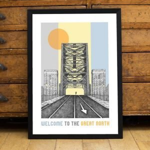 A pen and ink drawing of the tyne bridge with a lone runner coming across