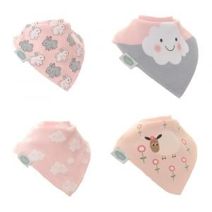 A set of four cute bibs which have a pale pink theme acorss all of them and with images of clouds, bunnies and sheep on them.