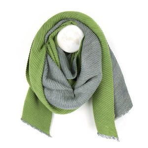 A grey and green reversible pleated scarf