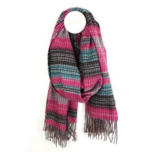 Bright pink and blue plaid scarf