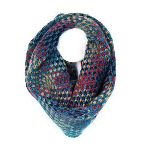 Brightly coloured knitted snood