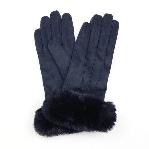 A pair of faux suede gloves in navy blue with a faux navy blue fur trim