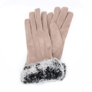 A pair of camel faux suede gloves with two tone grey faux fur wrist trim
