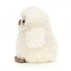 A gorgeous Jellycat Apollo Owl. A white fluffy owl chick with white fluffy roly poly body.