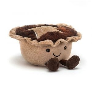 Jellycat Amuseable Mince Pie cuddly toy. With a cute face, furry topping and dangly legs