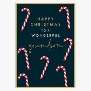 Candy Canes Grandson Christmas card with a dark navy blue background and lots of bright red and white candy canes. Happy Christmas to a wonderful Grandson