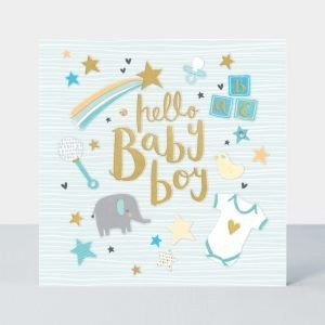 A lovely large card with blue background, new baby icons and added gold foiling and sparkling jewels.