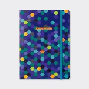 A blue patterned A5 notebook with different coloured hexagon shapes on it. There is an elasticated ribbon to keep the book together.