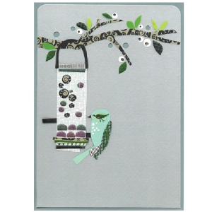 A lovely card with a pale grey background and an image of a bird feeder hanging on a branch with a bird feeding from it.