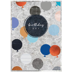 A colourful card with images of baloons all over it. In the centre of the card is a blue circle with the words Birthday Boy printed on it.